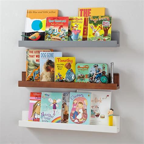 narrow picture ledge playroom wall racks wooden book wall ledge in shelves hooks the land of nod