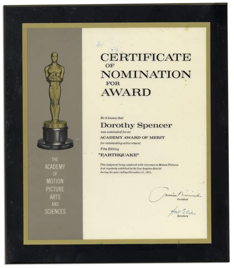 lot detail official oscar nomination certificate for the