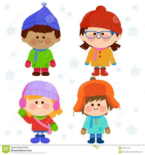 group  children wearing warm winter clothes stock vector