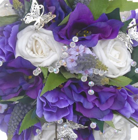 Fiscus silver butterfly purple lisianthus veronica amp white rose