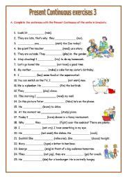 english teaching worksheets present continuous progressive