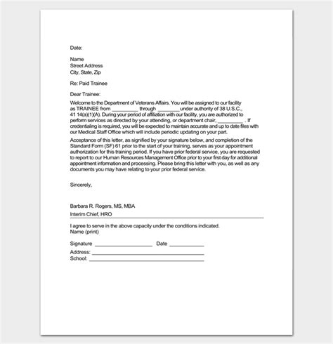 appointment letter format for trainee engineer trainee appointment letter 9 for word doc pdf format