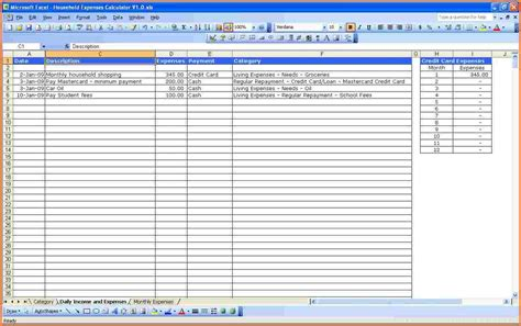 4 excel spreadsheet for monthly expenses excel