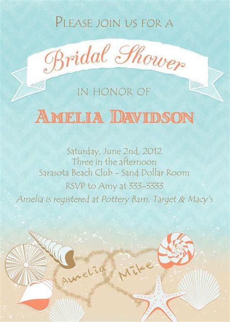 Destination Wedding Bridal Shower Invitations by Bridal Shower Invitation Seashell Bridal Shower