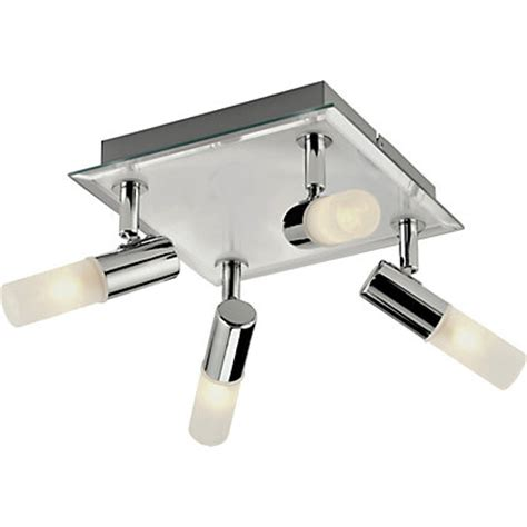 square bathroom 4 spotlight ceiling plate chrome