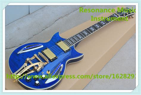 Handmade Electric Guitars For Sale - custom shop glossy blue quilted finish es electric guitar