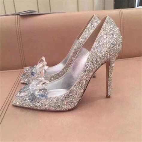 glass slipper high heels silver cinderella rhinestone glass slipper wedding dress