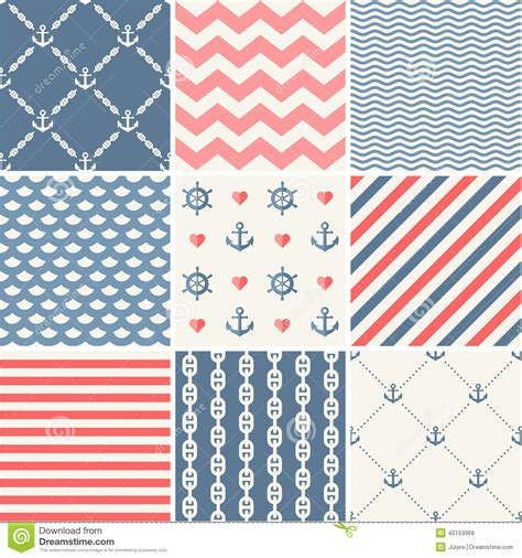 navy pattern vector navy vector seamless patterns collection stock vector