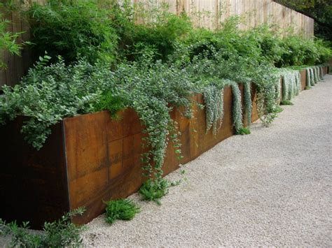 Corten Steel Planter Box by Planter Retaining Wall More