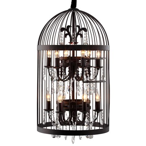 Birdcage Chandelier Zuo Modern 98240 Canary Bird Cage Chandelier Iron W Crystals In A Rusted Finish