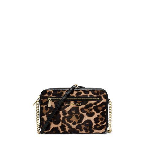 m hael kors 1139 gold leopard lyst michael kors jet set leopard calf hair crossbody in