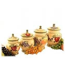 Tuscan Style Kitchen Canister Sets by Tuscan Collection Deluxe Hand Painted 4 Piece Kitchen