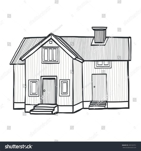 sketch a house sketchy scandinavian house freehand stock
