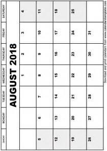Calendar 2018 August August 2018 Calendar Template
