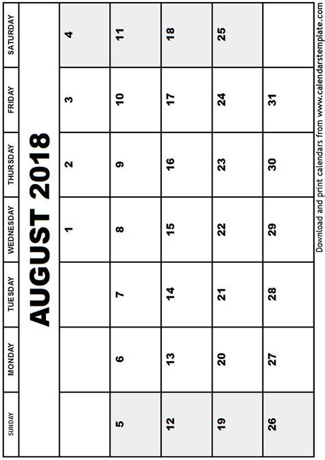 Kalender August 2018 August 2018 Calendar Template