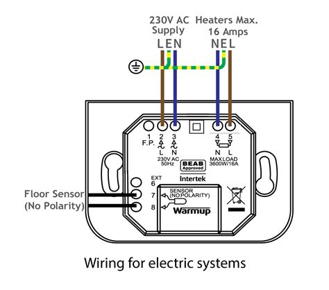 wiring diagram for electric underfloor heating circuit