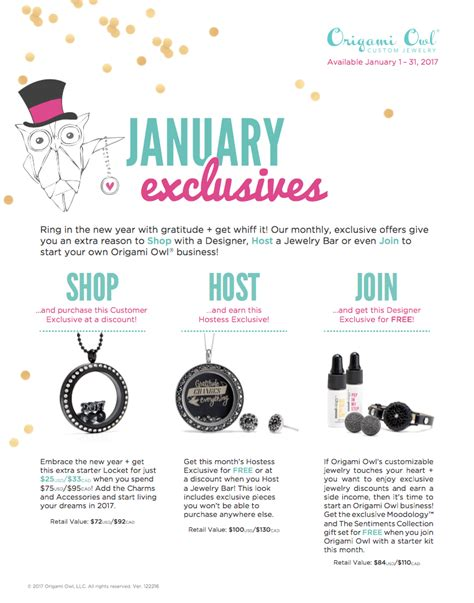 Origami Owl Monthly Specials - origami owl is free jewelry host origami owl