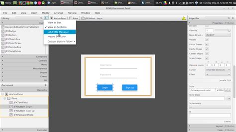 javafx layout elements javafx material design setting up and making login