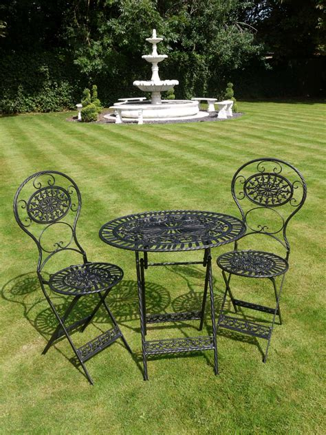 Garden Bistro Chairs Vintage Style Black Wrought Iron 3 Bistro Garden Furniture Set Interiors And Gifts