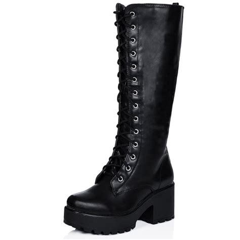 buy jedeye cleated sole lace up platform knee high boots