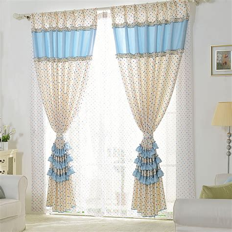 Sheer Embroidered Curtains Blue Lace Curtains With Lace Design And Polka Dots