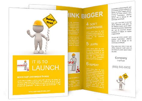 3d People Man Person With A Quot Safety First Quot Sign In Hand Brochure Template Design Id Safety Brochure Template Free