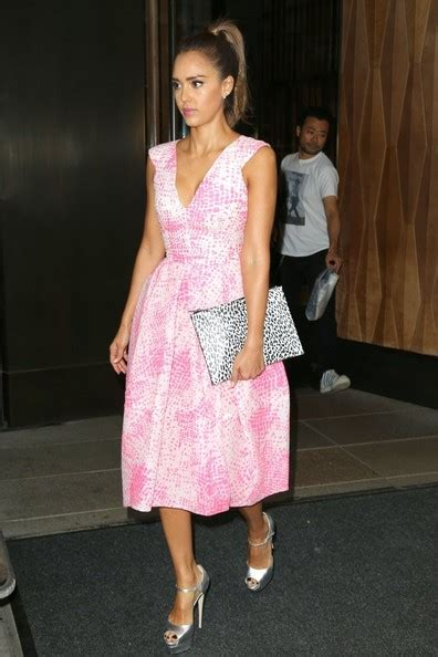 celebrity pink overall dress celebrity style jessica alba looks pretty in pink