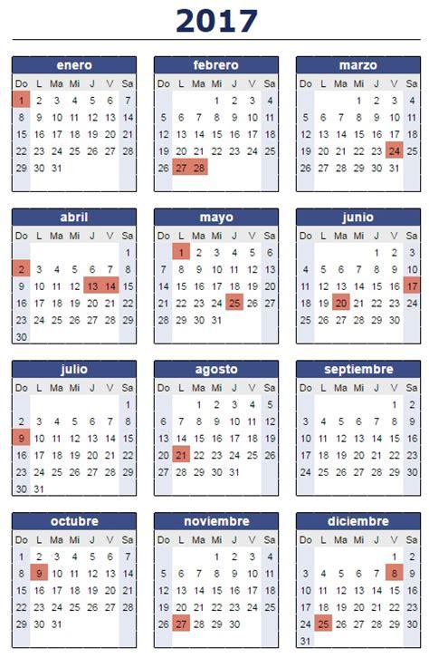 Calendario 2017 Dias Feriados As 237 Quedar 237 A El Calendario De Feriados 2017 Noticias De