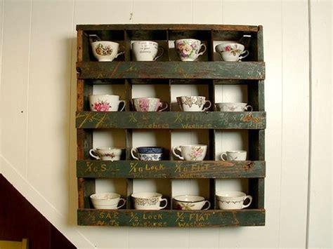 Teacup Display Shelf by Pallet Coffee Tea Cup Holder Tea Cup Holders