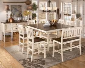 whitesburg 8 piece square counter height extension table set in brown white by dining rooms outlet