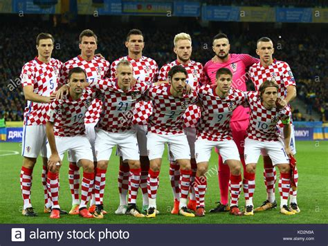kiev ukraine 9th october 2017 players of croatia