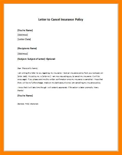 Letter To Cancel Insurance Policy Sle 9 Policy Cancellation Letter Homed