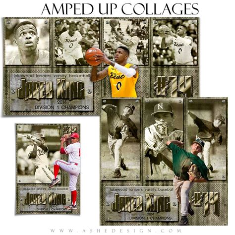 sports collage templates hall of fame ashe design