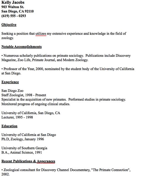Zoology Resume Exles Exle Zoology Resume Http Resumesdesign Exle