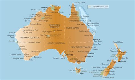 map of australia and nz location