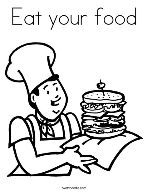 how to your to eat food eat your food coloring page twisty noodle