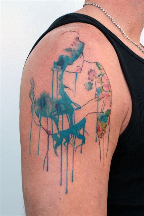 water paint tattoos watercolour blue hair inspiration for