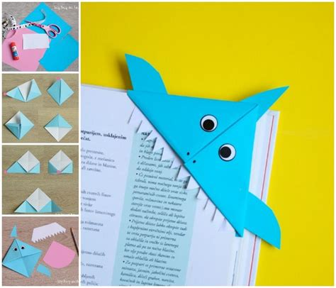 Corner Bookmark Origami - shark corner bookmark easy peasy and