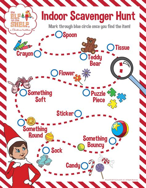 free printable elf on the shelf scavenger hunt indoor scavenger hunt for kids see how many items you can