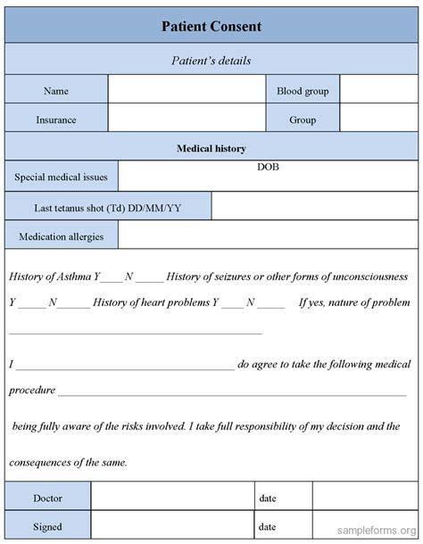 patient consent form template patient consent form sle forms