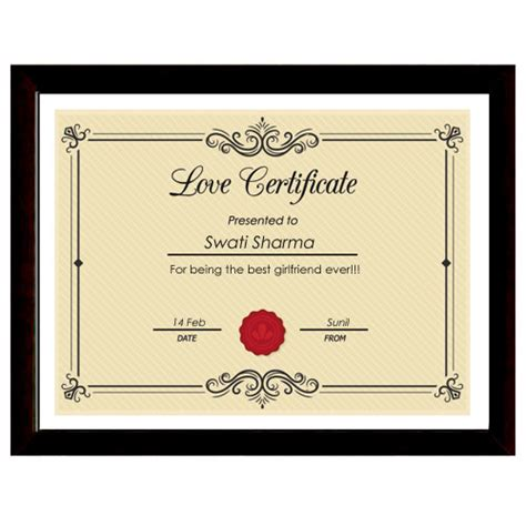 printable gift certificate for husband love certificate with frame framed romantic certificate