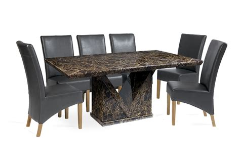 mocha 180cm marble effect dining table with 6 cannes grey
