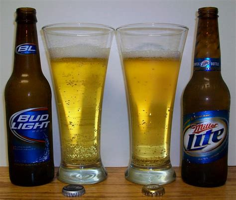 light vs bud light s bier bud light vs miller lite
