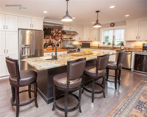 Dark Chocolate Kitchen Cabinets L Shaped White Kitchen With Contrasting Island Includes