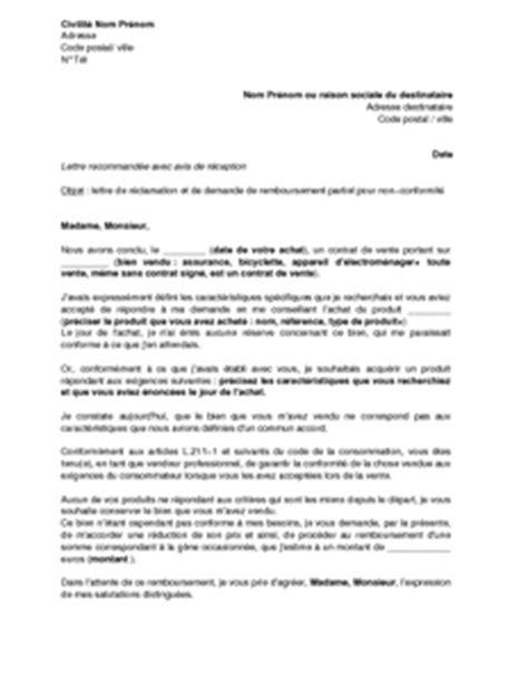 Demande De Prix Lettre exemple gratuit de lettre r 233 clamation et demande remboursement partiel prix non conformit 233