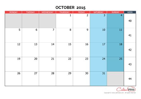 printable monthly planner october 2015 monthly calendar month of october 2015 the week starts