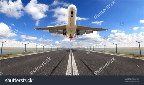 bid on flights big jet plane taking runway stock photo 74082925