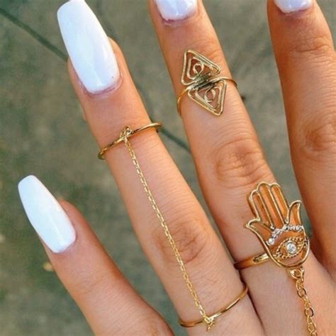 tumblr nails with white gold rings matte white coffin nails memes
