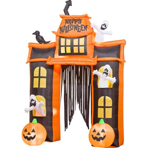 inflatable haunted house 10 tall airblown halloween inflatable haunted house and archway walmart com