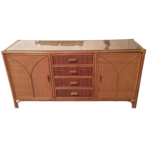 Wicker Credenza rattan sideboard wicker vintage credenza buffet dresser palm tropical for sale at 1stdibs